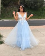 A-Line V-neck Floor-Length Tulle Prom Dresses With Lace Flower(s) Sequins (018220249)