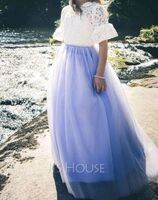 Ball-Gown/Princess Floor-length Flower Girl Dress - Tulle/Lace Long Sleeves Scoop Neck With Bow(s)/V Back (010254254)