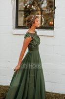 A-Line/Princess Scoop Neck Sweep Train Chiffon Prom Dresses With Lace Beading (018138374)