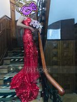 Trumpet/Mermaid V-neck Sweep Train Sequined Evening Dress With Beading (017164950)