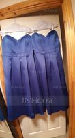 A-Line/Princess Sweetheart Tea-Length Satin Bridesmaid Dress (007104745)