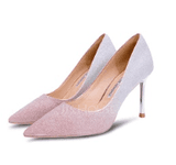 Women's Microfiber Leather Stiletto Heel Closed Toe Pumps With Sparkling Glitter (047193134)