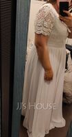 A-Line V-neck Floor-Length Chiffon Lace Wedding Dress (002215652)