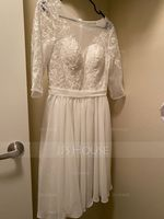 Scoop Neck Knee-Length Chiffon Lace Wedding Dress With Sequins (265251481)
