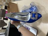 Women's Satin Stiletto Heel Closed Toe Pumps With Rhinestone (047086384)