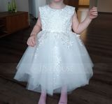 Ball Gown Knee-length Flower Girl Dress - Satin/Lace Sleeveless Scoop Neck With Lace/Appliques (010103708)
