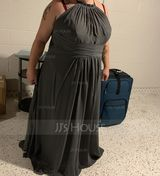 A-Line Scoop Neck Floor-Length Chiffon Bridesmaid Dress With Bow(s) Cascading Ruffles (007206457)