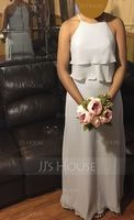 A-Line/Princess Scoop Neck Floor-Length Chiffon Bridesmaid Dress With Cascading Ruffles (007126451)
