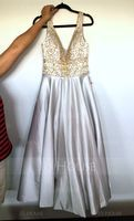 Ball-Gown V-neck Floor-Length Satin Prom Dresses With Beading Sequins (018163273)
