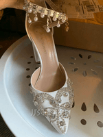 Women's Leatherette Chunky Heel Closed Toe Pumps With Tassel Crystal (047182377)