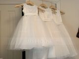 A-Line Tea-length Flower Girl Dress - Satin/Tulle Sleeveless Scoop Neck (010220961)