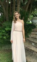 One-Shoulder Floor-Length Chiffon Bridesmaid Dress With Ruffle (266196033)