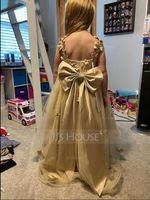 Ball-Gown/Princess Asymmetrical Flower Girl Dress - Tulle Sleeveless V-neck With Beading/Flower(s)/Bow(s) (010225309)