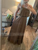 A-Line Square Neckline Floor-Length Chiffon Bridesmaid Dress With Split Front (007116627)