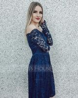 Polyester/Lace With Lace/Solid Knee Length Dress (199228824)