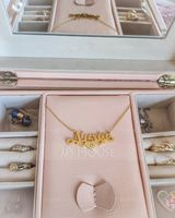 Custom 18k Rose Gold Plated Silver Name Birthstone Necklace Nameplate With Kids Names (288216106)-Christmas Gifts
