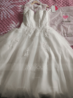 Duchesse-Linie/Princess Illusion Sweep/Pinsel zug Organza Tüll Brautkleid mit Perlstickerei Pailletten (002054358)