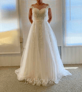 A-Line Scoop Neck Sweep Train Tulle Lace Wedding Dress With Ruffle Lace (002250165)