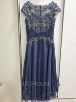A-Line Scoop Neck Asymmetrical Chiffon Lace Cocktail Dress With Beading (270261605)