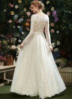A-Line V-neck Floor-Length Wedding Dress With Lace Sequins (002254027)