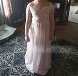 A-Line/Princess V-neck Floor-Length Chiffon Junior Bridesmaid Dress With Ruffle (009130652)