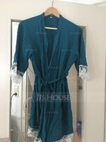Cotton Bride Bridesmaid Blank Robes Lace Robes (248178683)