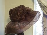 Ladies' Beautiful Organza With Silk Flower Floppy Hat/Beach/Sun Hats/Kentucky Derby Hats (196123856)