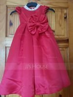 Ball-Gown/Princess Ankle-length Flower Girl Dress - Satin Short Sleeves Scoop Neck With Lace/Beading/Bow(s) (010211927)