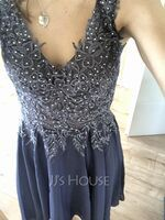 A-Line V-neck Knee-Length Chiffon Bridesmaid Dress With Beading (007236084)