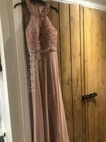 A-Line Scoop Neck Floor-Length Chiffon Lace Bridesmaid Dress With Split Front (266263385)