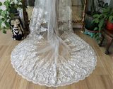 One-tier Lace Applique Edge Cathedral Bridal Veils With Applique (006092931)