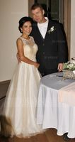 Ball-Gown/Princess Illusion Court Train Tulle Wedding Dress With Beading (002153427)