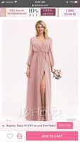 V-neck Floor-Length Chiffon Bridesmaid Dress With Ruffle Bow(s) Split Front (266222092)