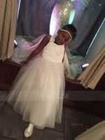 Ball Gown Ankle-length Flower Girl Dress - Satin/Tulle Sleeveless Sweetheart With Bow(s) (010136589)