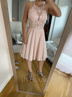 A-Line Scoop Neck Knee-Length Chiffon Prom Dresses With Sequins (018230667)