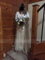 A-Line/Princess V-neck Sweep Train Tulle Wedding Dress With Cascading Ruffles (002120307)
