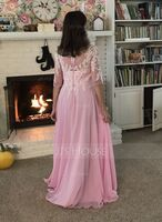V-neck Floor-Length Chiffon Evening Dress (271214428)