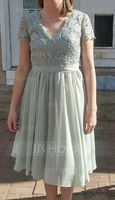V-neck Knee-Length Chiffon Lace Bridesmaid Dress (266210002)
