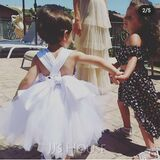 Ball-Gown/Princess Knee-length Flower Girl Dress - Sleeveless Square Neckline With Bow(s) (010236797)