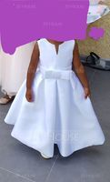 Tea-length Flower Girl Dress - Satin Sleeveless Scoop Neck With Bow(s) (Petticoat NOT included) (269197625)