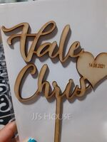 Personalized Bride And Groom/Simple Design Wooden Cake Topper (118251086)