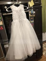 Ball Gown Ankle-length Flower Girl Dress - Satin Tulle Sleeveless Scoop Neck With Appliques (269177217)