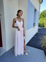 A-Line V-neck Floor-Length Bridesmaid Dress With Ruffle Beading Split Front (266260130)