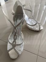 Women's Lace Silk Like Satin Stiletto Heel Peep Toe Platform Pumps With Buckle Crystal (047221744)