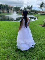 Ball-Gown/Princess Asymmetrical Flower Girl Dress - Organza/Satin Sleeveless Scoop Neck With Bow(s) (010206309)