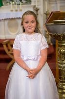 Floor-length Flower Girl Dress - Tulle Charmeuse Lace Short Sleeves Scoop Neck With Bow(s) (269197761)