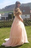 Ball-Gown/Princess Square Neckline Sweep Train Tulle Prom Dresses (018224421)