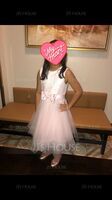 A-Line Tea-length Flower Girl Dress - Sleeveless Scalloped Neck With Lace/Bow(s) (010236823)