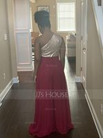 A-Line One-Shoulder Floor-Length Chiffon Sequined Bridesmaid Dress (266253108)