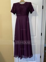 Scoop Neck Floor-Length Chiffon Lace Bridesmaid Dress With Split Front (266229489)